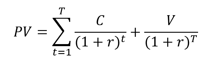 Present value of the series of cash flows for a bond