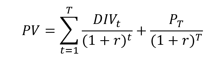 Present value of the series of cash flows for a stock