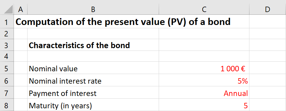 Excel file to compute the present value of a bond