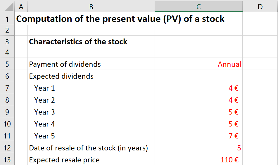 Excel file to compute the present value of a stock