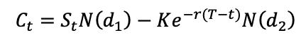 BSM formula for the call option