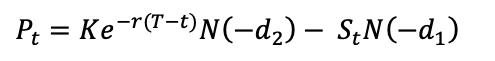 BSM formula for the put option